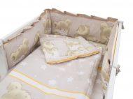 Mama Kiddies Sofie Dreams lenjerie pat bebe, 5 piese, protecție laterală de 360°, maro deschis