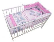 Mama Kiddies Sofie Dreams lenjerie pat bebe, 4 piese, cu protecție laterală de 180°, roz