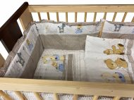 Mama Kiddies Sofie Dreams lenjerie pat bebe, 5 piese, protecție laterală de 360°, culoare bej cu model de ursuleț