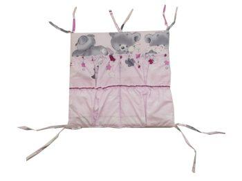 Mama Kiddies Sofie Dreams organizator cu buzunare, roz cu model de ursuleț