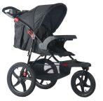 Cărucior sport de alergare Mama Kiddies IRun cu accesorii, culoare negru + sac de picioare cadou