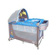 Pătuț voiaj albastru Mama Kiddies VIP  (înălțime reglabilă și funcție de balansare) + Plasă de țânțari + Cadou