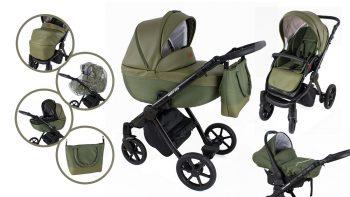 Cărucior multifuncțional 3în1 Mama Kiddies Legend Collection piele ecologică, culoare verde + cadou