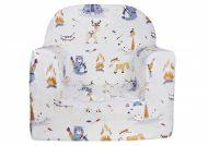 Fotoliu bebe Premium în culoare albă, cu model de ursuleț, vulpe, căprioară