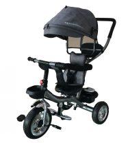 Tricicletă Mama Kiddies Major Trike cu mâner de părinte și suport pentru picioare, culoare gri (scaun rotativ 360°)