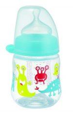 NIP PP biberon cu gură largă, 150 ml,  cu tetină de silicon pentru lapte, pentru băieți