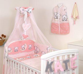 Mama Kiddies Baby Bear lenjerie de pat 6 piese, cu protecție laterală de 360°, roz cu model de ursuleț