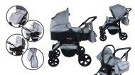 Cărucior multifuncțional 3în1 Mama Kiddies Sleep Collection în culoare gri deschis + cadou