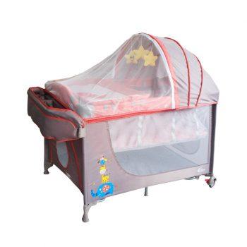 Pătuț voiaj portocaliu Mama Kiddies VIP  (înălțime reglabilă și funcție de balansare) + Plasă de țânțari + Cadou
