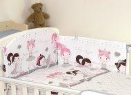 Mama Kiddies Baby Bear lenjerie de pat 5 piese, cu protecție laterală de 360°, alb-gri cu model de balet