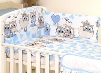 Mama Kiddies Baby Bear lenjerie de pat 5 piese, cu protecție laterală de 180°, albastru-alb cu model de bufniță