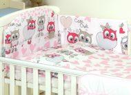 Mama Kiddies Baby Bear lenjerie de pat 5 piese, cu protecție laterală de 180°, roz-alb cu model de bufniță