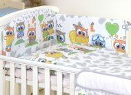 Mama Kiddies Baby Bear lenjerie de pat 5 piese, cu protecție laterală de 180°, gri-alb cu model de bufniță