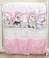 Mama Kiddies Baby Bear organizator cu buzunare, roz cu model de ursuleț polar