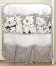 Mama Kiddies Baby Bear organizator cu buzunare, gri cu model de ursuleț polar