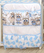 Mama Kiddies Baby Bear organizator cu buzunare, albastru-alb cu model de bufniță