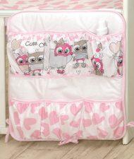 Mama Kiddies Baby Bear organizator cu buzunare, roz-alb cu model de bufniță