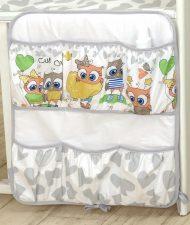 Mama Kiddies Baby Bear organizator cu buzunare, gri-alb cu model de bufniță