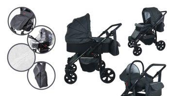 Cărucior multifuncțional 3în1 Mama Kiddies Sleep Collection în culoare gri închis + cadou