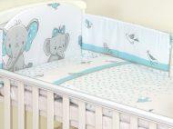 Mama Kiddies Baby Bear lenjerie de pat 5 piese, cu protecție laterală de 180°, turcoaz cu model de elefant