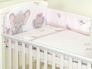 Mama Kiddies Baby Bear lenjerie de pat 5 piese, cu protecție laterală de 180°, roz cu model de elefant