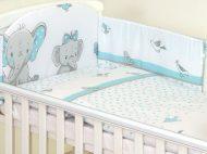 Mama Kiddies Baby Bear lenjerie de pat 6 piese, cu protecție laterală de 180°, turcoaz cu model de elefant