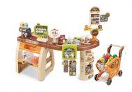 Set de jucărie supermarket Mama Kiddies, full extra, 65 piese, masă, cărucior de cumpărături și multe altele în culoare maro