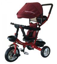 Tricicletă Mama Kiddies Major Trike cu mâner de părinte și suport pentru picioare,  culoare roșu  (scaun rotativ 360°)