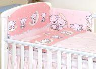 Mama Kiddies Baby Bear lenjerie de pat 5 piese, cu protecție laterală de 180°, roz cu model de ursuleț