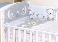 Mama Kiddies Baby Bear lenjerie de pat 5 piese, cu protecție laterală de 180°, gri cu model de ursuleț
