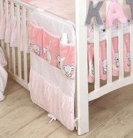 Mama Kiddies Baby Bear organizator cu buzunare, roz cu model de ursuleț