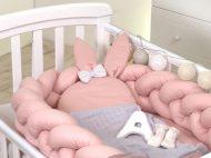 Apărătoare laterală pentru pătuț și cuibușor bebe 2în1, - Pure Rose  - 210 cm