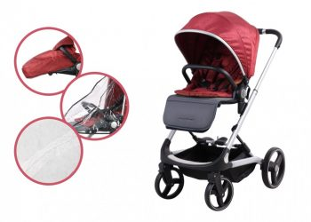 Mama Kiddies ISmart cărucior sport cu accesorii, culoare roșu + sac de picioare cadou