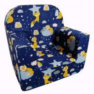 Fotoliu bebe Premium albastru închis cu model de vulpe
