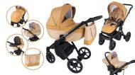 Cărucior multifuncțional 3în1 Mama Kiddies Legend Collection piele ecologică, culoare bej + cadou
