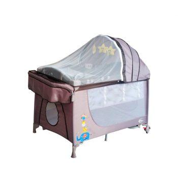Pătuț voiaj maro Mama Kiddies VIP  (înălțime reglabilă și funcție de balansare) + Plasă de țânțari + Cadou