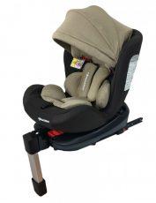 Scaun auto de siguranță Mama Kiddies Baby Pilot cu ISOFIX, rotativ 360° (0-36 kg) culoare maro-bej cu copertină cadou