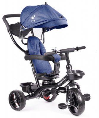 Fix Lite 3în1 tricicletă cu mâner pentru părinte și suport pentru picioare în culoare albastru  (scaun rotativ în 360°)