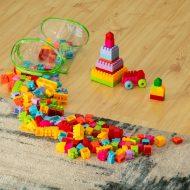 Blocuri de construcții din plastic în geantă cilindrică transparentă - set  210 piese